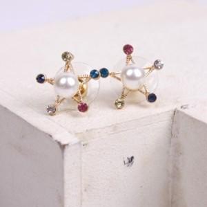 New Colorful Rhinestone Pearl Five-pointed Star Ear Stud Earrings E-1583