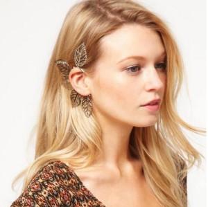 New Punk Rock Gold/Silver Metal Filigree Leaf Non Pierced Hook Ear Cuff Earrings E-0579
