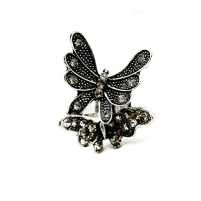 New Rhinestone Metal Gold/Silver Double Butterfly Ring Adjustable Size R-0209
