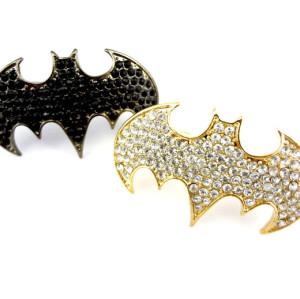 R-0676 European style gold/gun black rhinestone punk bat double fingers ring