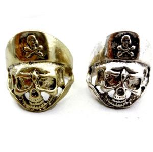 Wholesale 2 Pieces Retro Bronze Silver Skull Bone Pirate Ring #9 Size R-0006