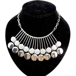 European Style silver plated round drip tassels  necklace N-1776