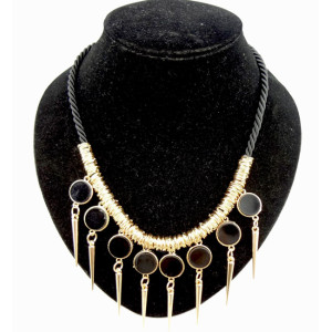 New Coming Retro Punk rope chain faux gem rivet Tassels Necklace N-1282
