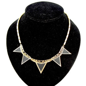 New Style black leather Geometry triangles choker necklace N-4520