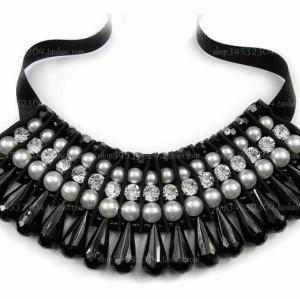 New South Korea retro pearl gem crystal silk Ribbon  Necklace N-1525