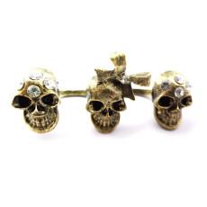 Retro Gothic Punk Bow Rhinestone Bronze  Skull Double Fingers Ring #5 #6 Size R-0044