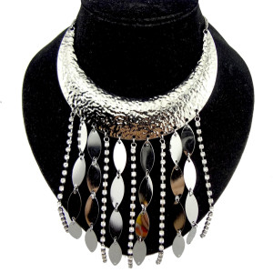 Bohemia Style Clear Rhinestone Crescent Sequin  Tassel Necklace N-2078