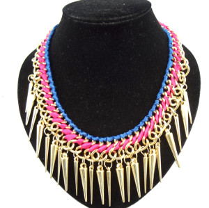 New gold plated ribbon rivet tassels choker necklace N-1319