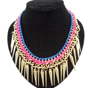 New gold plated ribbon rivet tassels choker necklace N-1319