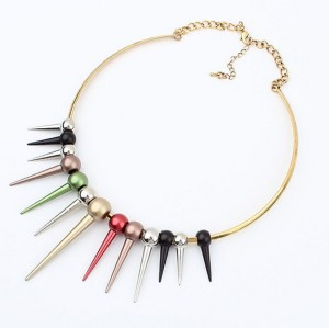 New charming colorful rivet tassels collar choker necklace N-2025