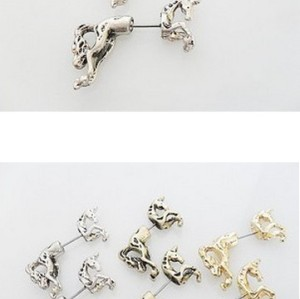 punk gold plated vintage bronze/silver  colorful horse Ear Cuff  ear stud  E-1654