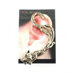 retro Gothic punk bronze silver metal  fox king  ear cuff ear stud E-1203