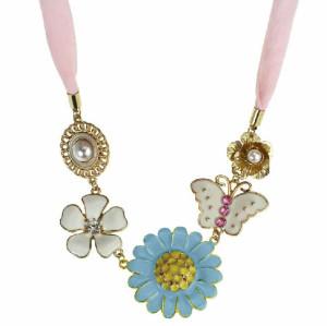 New Rhinestone Pearl Enamel Sunflower Flower Butterfly Chiffon Choker Necklace N-0012