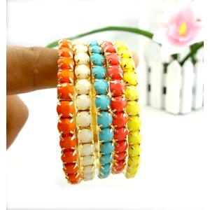 Wholesale 5 Pcs Set Multi Strand Resin Stone Colorful Gem Stretch Gold Bracelet B-0205