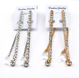 Bohemian Silver/Gold Long Rhinestone Chain Crystal Drop Ear Stud Earrings E-0083