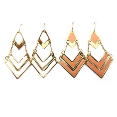 2piece white/pink Bohemian Enamel Gold Tone Geometrical Dangle Earring E-2025