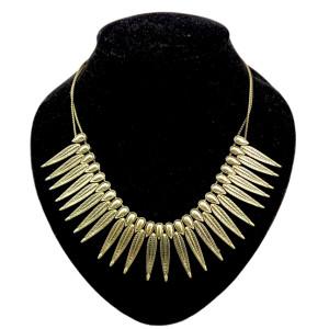 Vintage Style Retro Bronze Metal Carved Leaf Tassel Choker Necklace N-0082