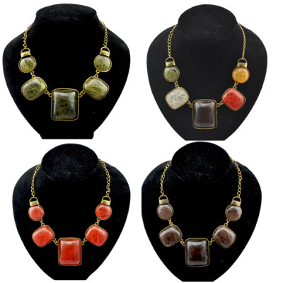 Hot Vintage Gold Stone Gem Geometrical Round Square Choker Necklace N-1048
