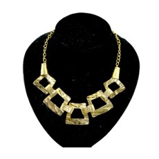 Hot Retro Gold Anomalistic Geometrical Hollow Out Square Choker Bib Necklace N-1792