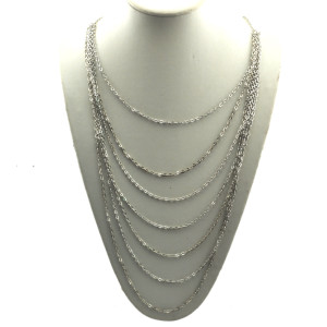 Bohemian New Women's Silver Tone Multi Strands Link Chain Necklace N-1293