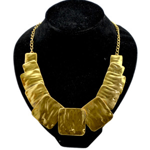 Vintage Style Gold Smooth Square Charms Choker Bib Collar Necklace N-1860