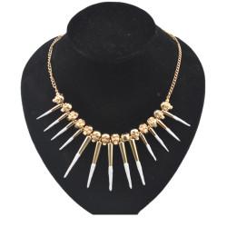 gold plated skull head enamel rivet tassels choker necklace N-1283