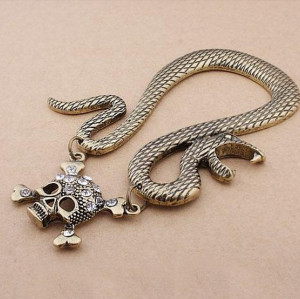 retro bronze silver metal snake rhinestone skull ear cuff earring E-1182