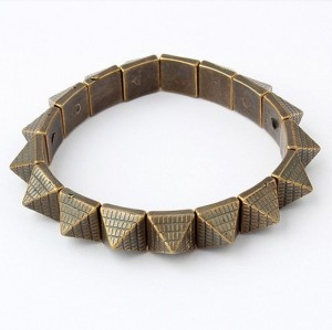 Vintage Style Bronze silver Taper Pyramid Studed Charms Stretch Bracelet B-0071