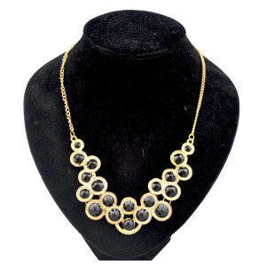 gold plated enamel rivet choker necklace N-0253