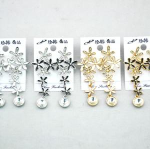 New Boho Enamel Crystal Petal Flowers Tassel Ear Stud Earrings