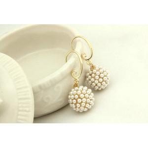 Korea Style gold plated pearl ball earring ear stud E-0236