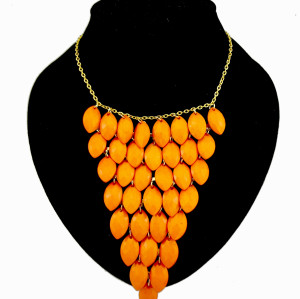 Multilayer geometry triangle fruit gem shape choker necklace N-0256
