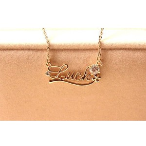 New Fashion Gold Plated Lovely LUCK Letters Rhinestone Necklace N-2787