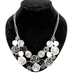 New charming metal enamel hollow out rose flower choker necklace N-0044