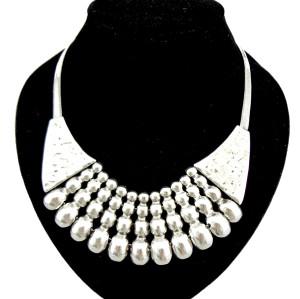 European style vintage gold silver metal tassels snake chain choker necklace N-1875