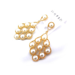 Pair charming gold plated metal hollow out pearl dangle  earring Ear Stud E-0274