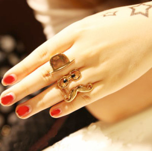 New Fashion Gold Plated Metal Hat Glass Mustache Duoble Finger Ring R-0128-G