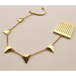 New Gold Tone Triangle Tassel Ear Cuff Tuck Comb Hairpin E-0106