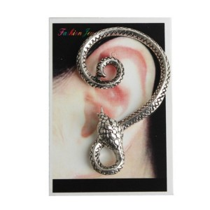 New Punk Rock Earrings silver Metal Wrap snake shape Ear Cuff stud Clip E-1207