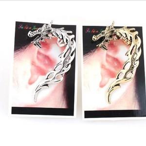 New Punk Rock Earrings  bronze silver Metal fire shape Wrap Dragons Ear Cuff ear  stud E-1202