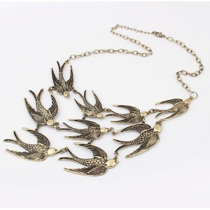 N-3381 vintage style bronze swallow long chain necklace
