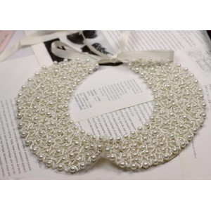 Charming Lots Black  White Beads Pearl Collar Necklace Silk Chain N-2060