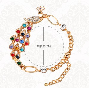charming Gold Plated crystal Rhinestone peacock bracelet B-0098