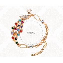 charming Gold Plated crystal Rhinestone peacock bracelet B-0098