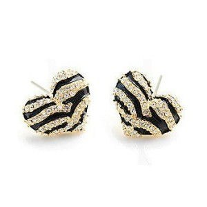 Fashion Lovely Zebra-stripe Charming Heart Enamel Rhinestone Ear Stud E-1023