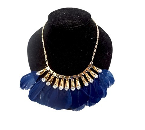 New Bohemian Gold Tone Rhinestone Crystal Feather Choker Bib Necklace N-1302