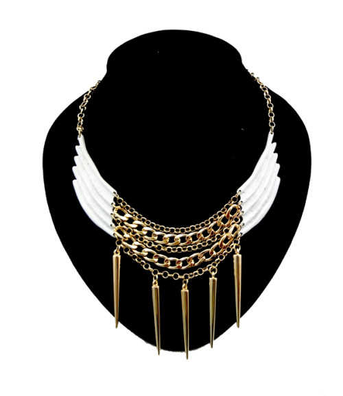 New Fashion punk Gold Plated Metal Rivet Wing Choker Necklace N-1276