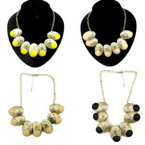 New Fashion Punk Gold Plated Metal Oval Gem Rhinestone Choker Necklace N-1035