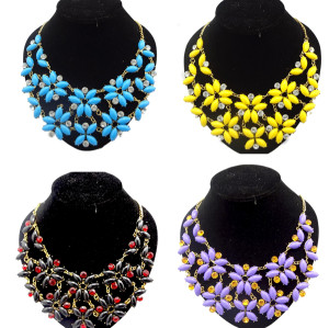 New Fashion Charming Gold Plated Metal Flower Gem Zircon Choker Beautiful Necklace N-0036