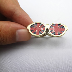 Fashion Bronze Meital Cute Glass Flag Enamel Lovely Double Finger Ring R-0193